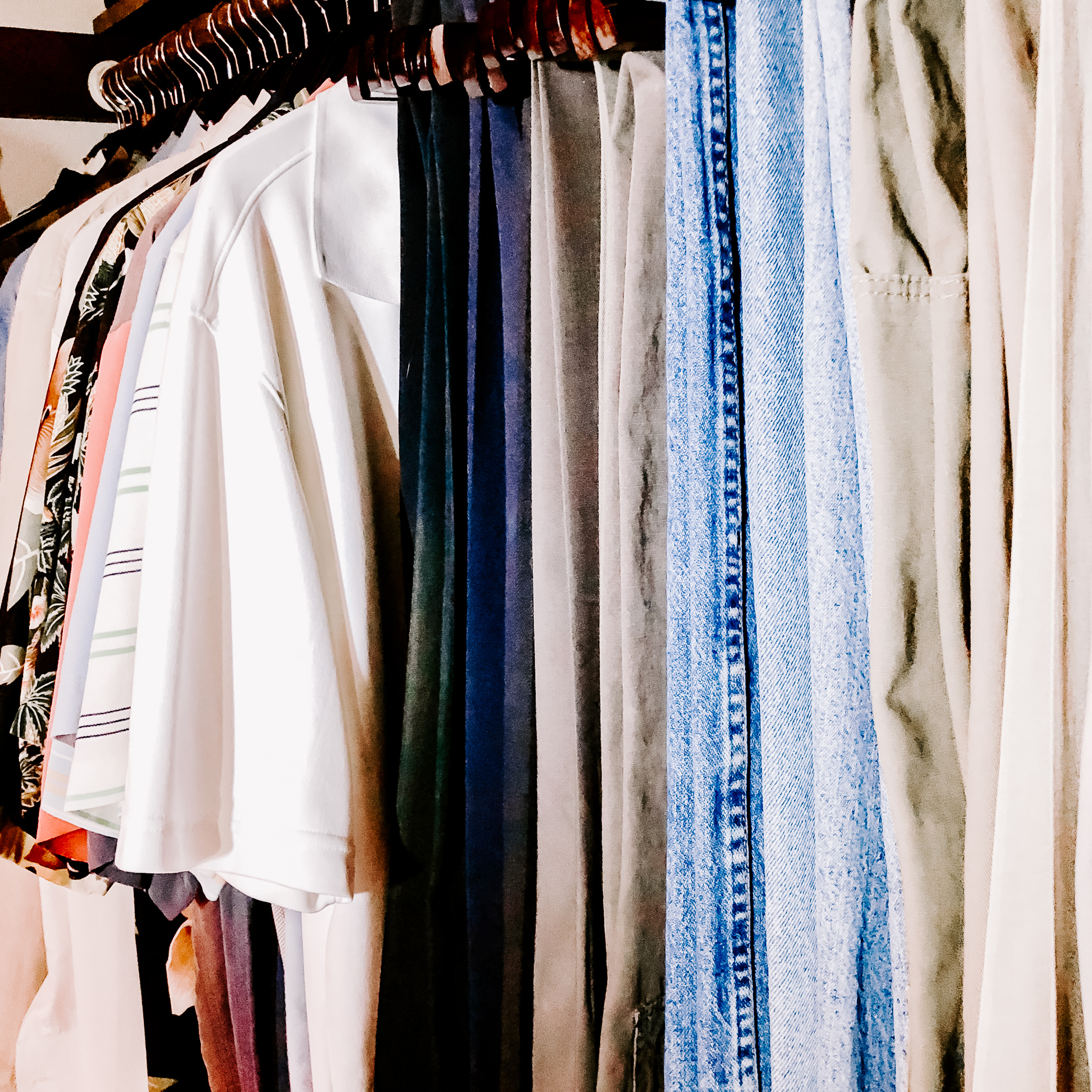 final product of organized clothing closet