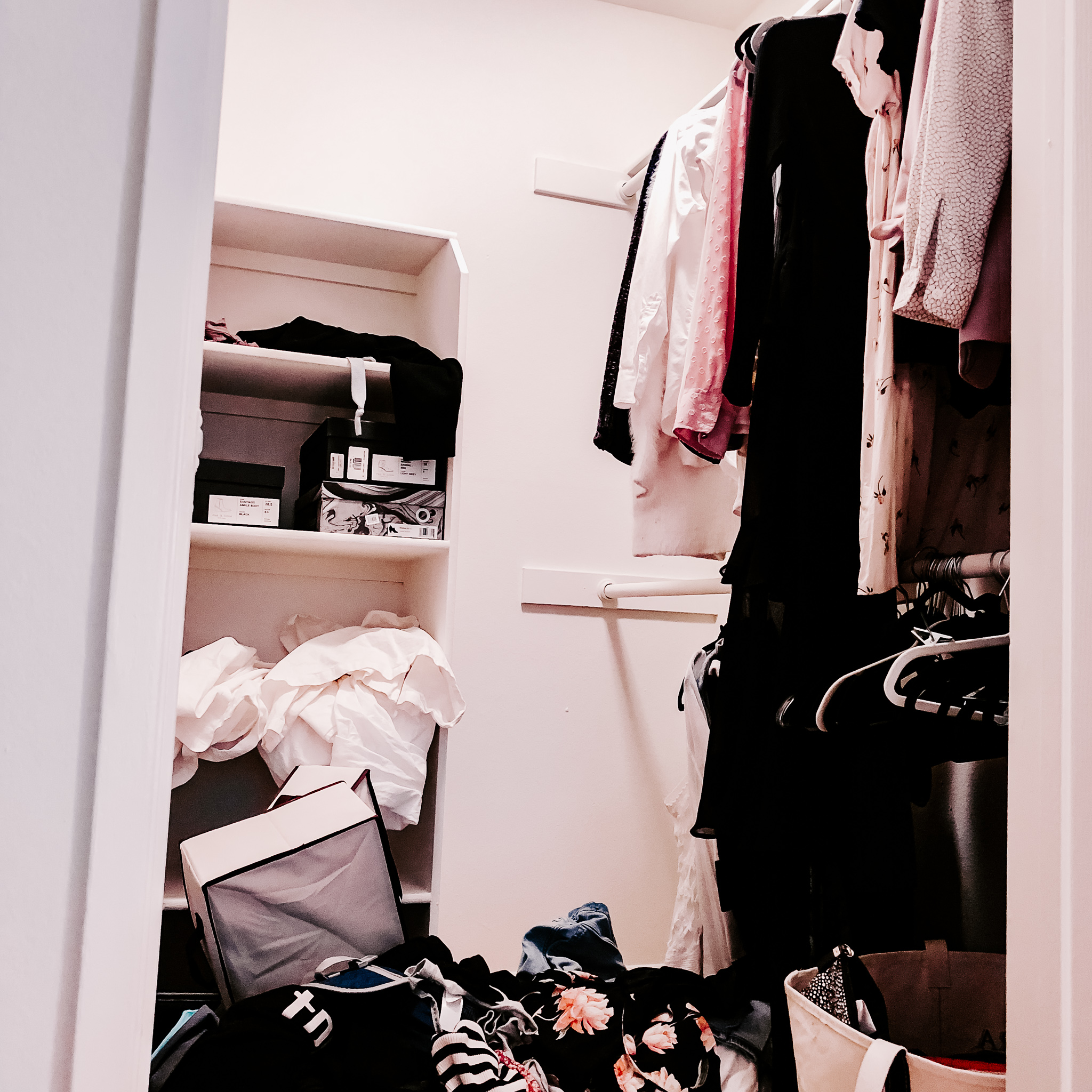 home closet before our professional organizers declutter and organize the closet
